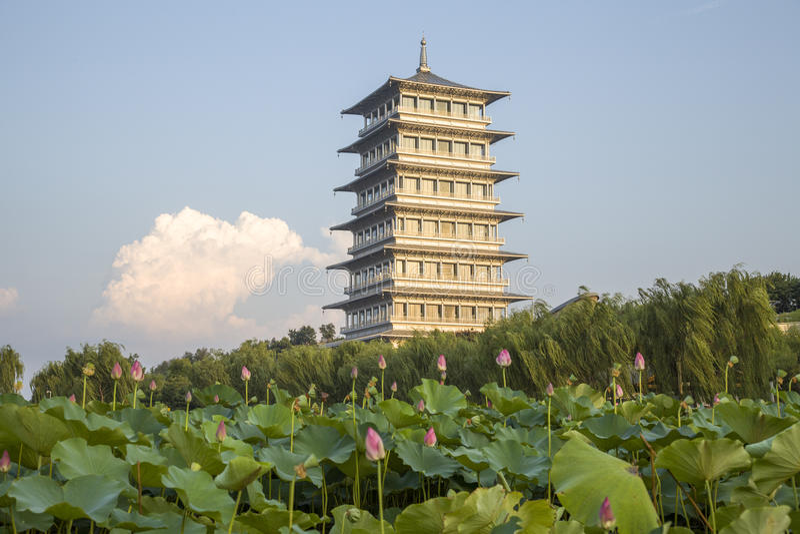 Xi 'an expo garden, changan tower royalty free stock photography