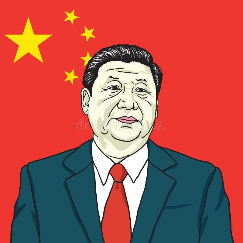 XI illustration för Jinping vektorstående med bakgrund för flagga för folk` s Republiken Kina Juli 30, 2017
