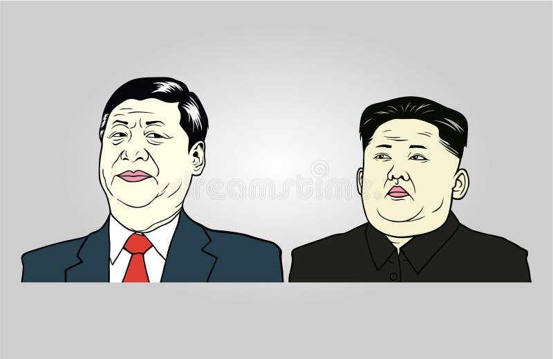 Xi ilustração do Jong-un de Jinping e de Kim, vetor liso do projeto