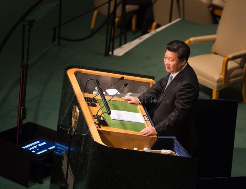 Xi Jinping op 70ste zitting van de Algemene Vergadering van de V.N. stock afbeeldingen