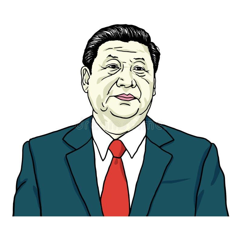 XI. Jinping portreta wektor Portret ilustracja Lipiec 30, 2017