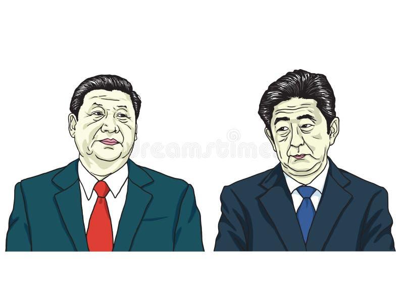 XI. Jinping z Shinzo Abe Wektorowa portret ilustracja, Październik 17, 2017 ilustracji