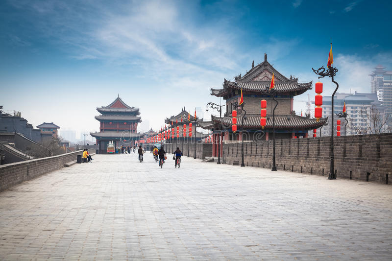 On the ancient city wall in xian. Xi'an landscape, in the ancient city wall royalty free stock photos
