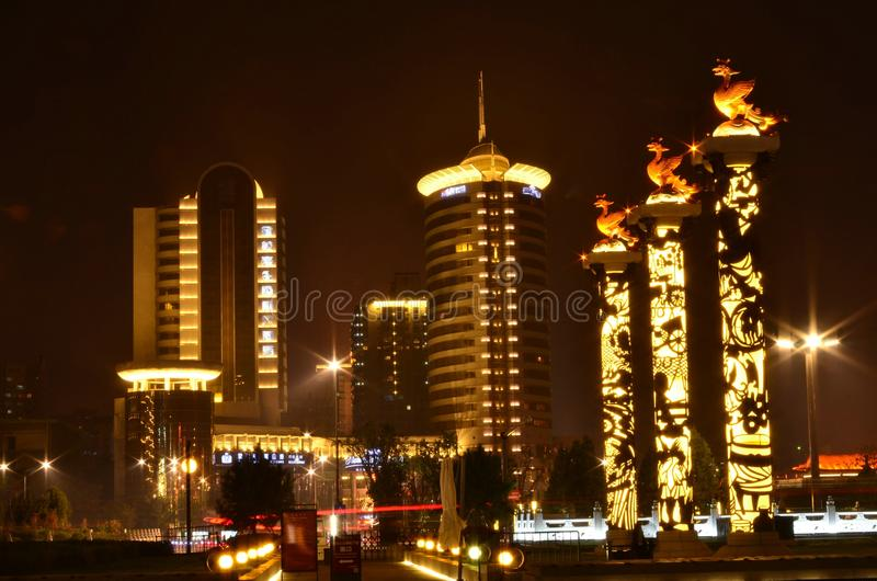 Xi'an miasta nocy sceneria zdjęcia royalty free