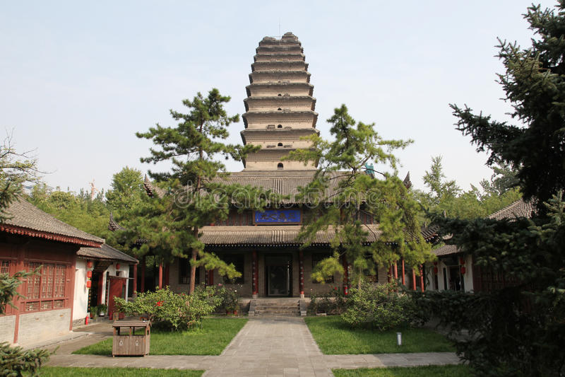 Shaanxi xi `an small wild goose pagoda. Xi `an the morning bell in the small wild goose pagoda, clocks stock photo