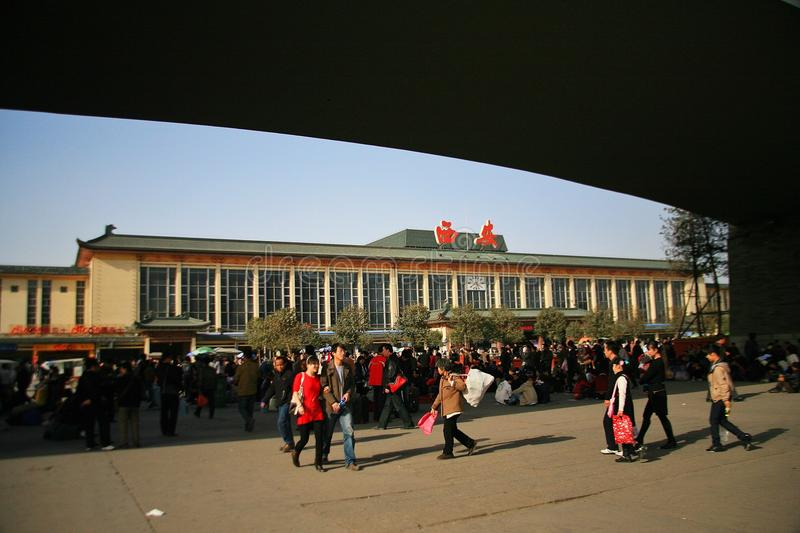 Xi& x27;an Railway Station. XiAn Railway Station, originally named Changan station, was founded in December 1934 and was officially operated in June 1935. It is royalty free stock photography