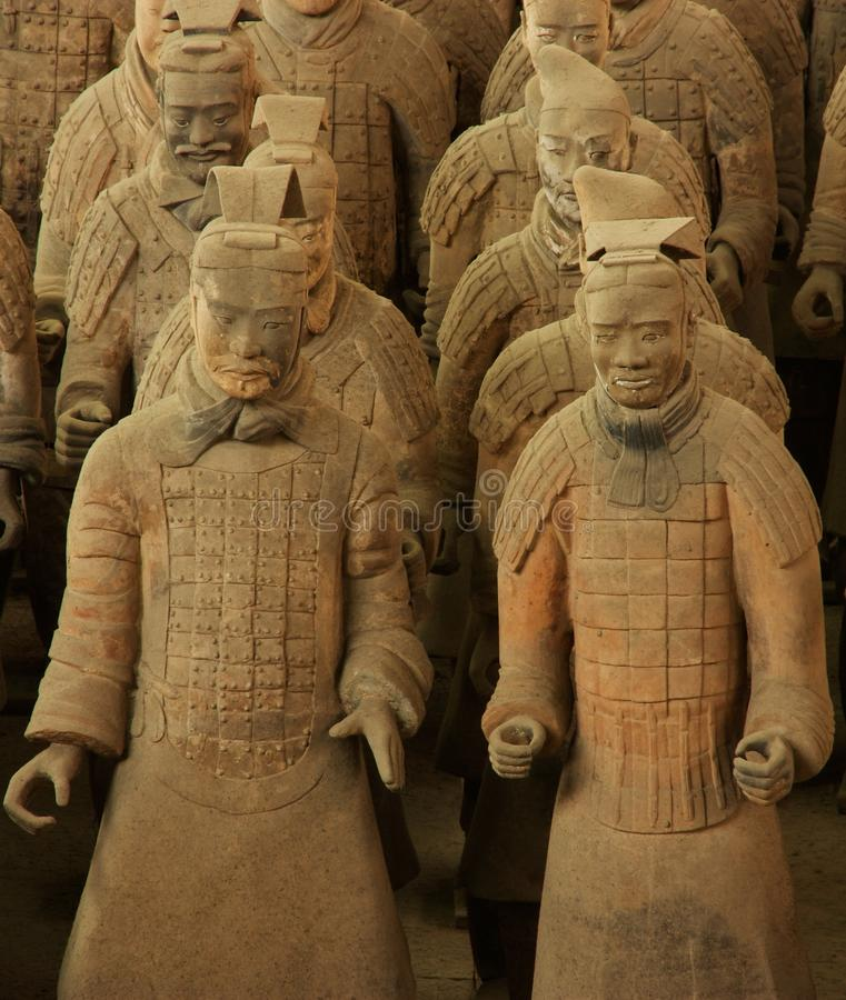 Xi'An Terracotta Army. The terracotta army of the last emperor of the Qin Dynasty, in Xi'An, China. Centered on two warriors royalty free stock photos