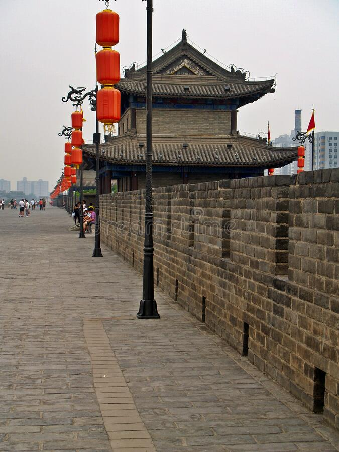 City Wall and Fortifications of Xi& x27;an. Xi`an was an ancient capital of China and an important waypoint on the ancient Silk Road.  The city was encircled by stock photo