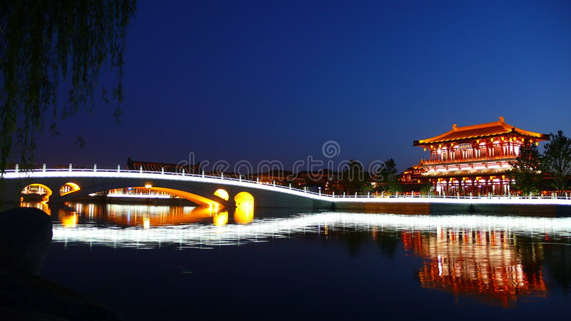 Xi'an(Xian),China. Night scenes of Tang Paradise in Xian,China royalty free stock photos
