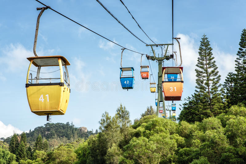 Xiamen Cable Car. Cable Car over the botanical gardens, Xiamen China royalty free stock image