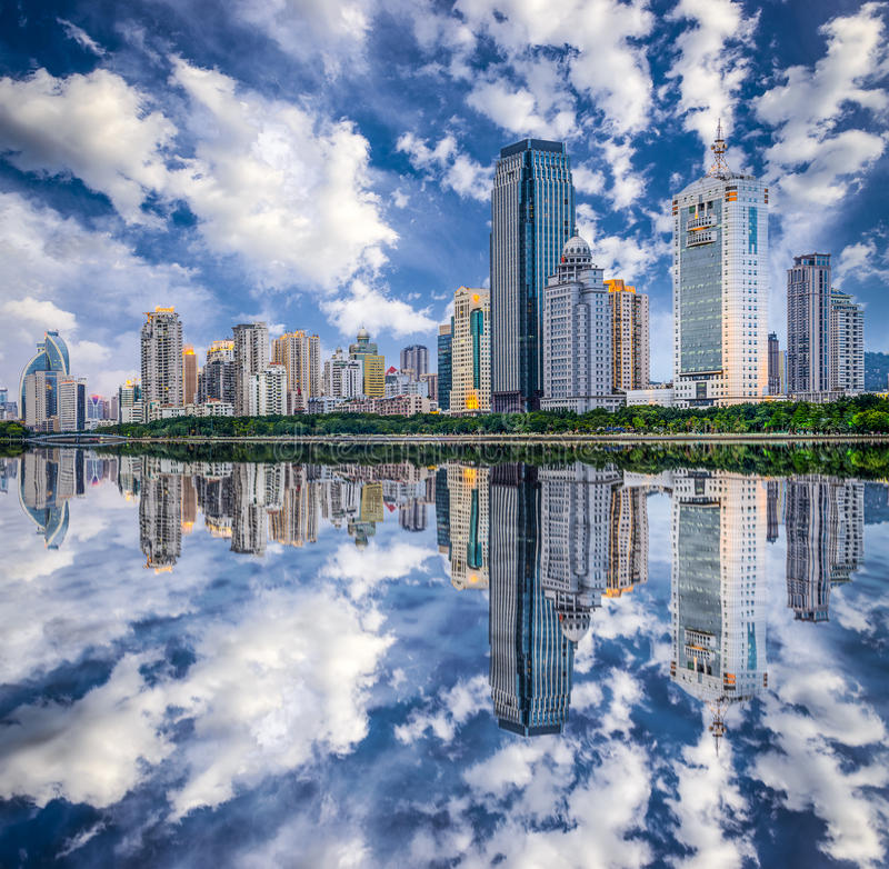 Xiamen, China City Skyline. Xiamen, China skyline on Yundang Lake stock photos