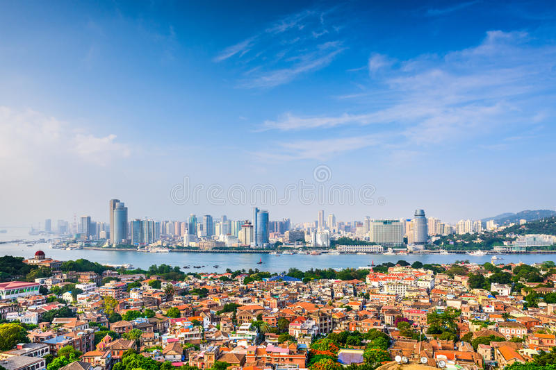 Xiamen China Cityscape. Xiamen, China cityscape from Gulangyu Island stock image