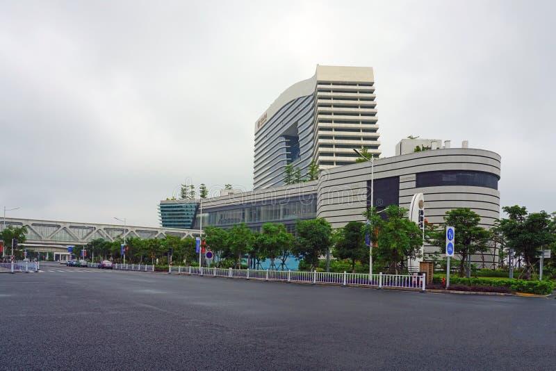 XIAMEN, CHINA -13 JUN 2019- View of the modern Wutong Ferry Terminal, where ferry boats depart for Kinmen, Taiwan, near the Xiamen. International Trade Business stock photography