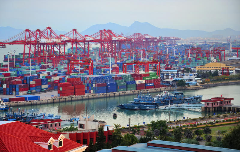 Xiamen ,China Port. Xiamen is a beautiful coastal city in China Fujian province stock images