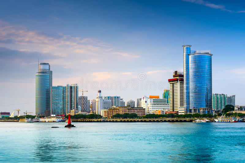 Xiamen. China skyline at twilight royalty free stock image