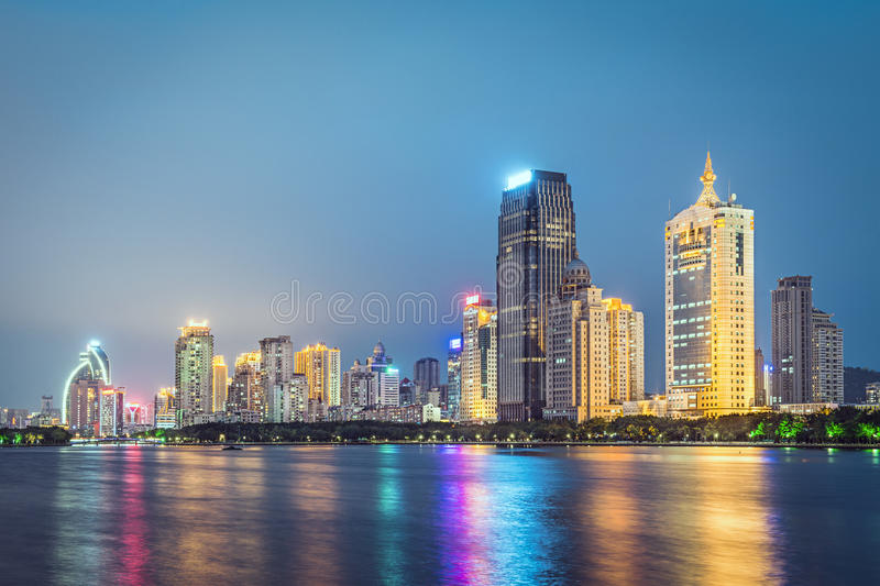 Xiamen, China. Skyline on Yundang Lake at twilight royalty free stock photo