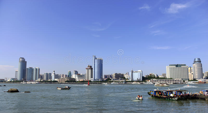 Xiamen City and the harbour. Xiamen is administered as a sub-provincial city of Fujian province stock images