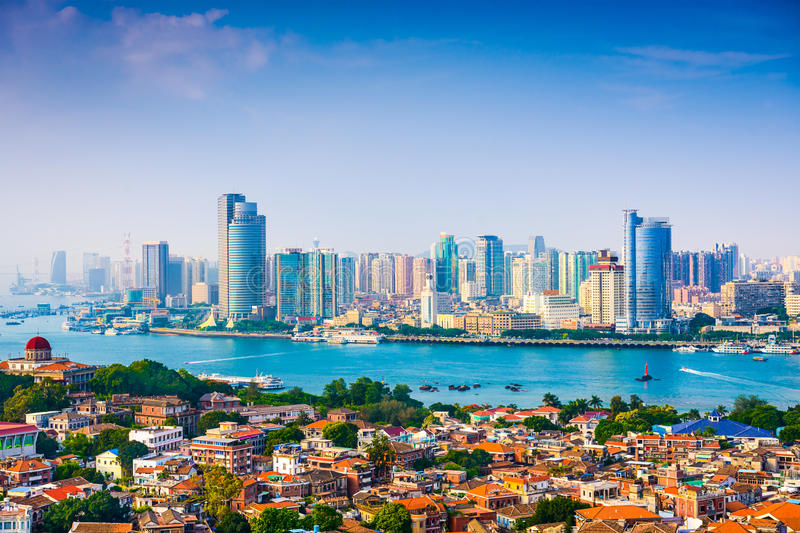 XIamen City Skyline. Xiamen, China city skyline from Gulangyu Island stock photo