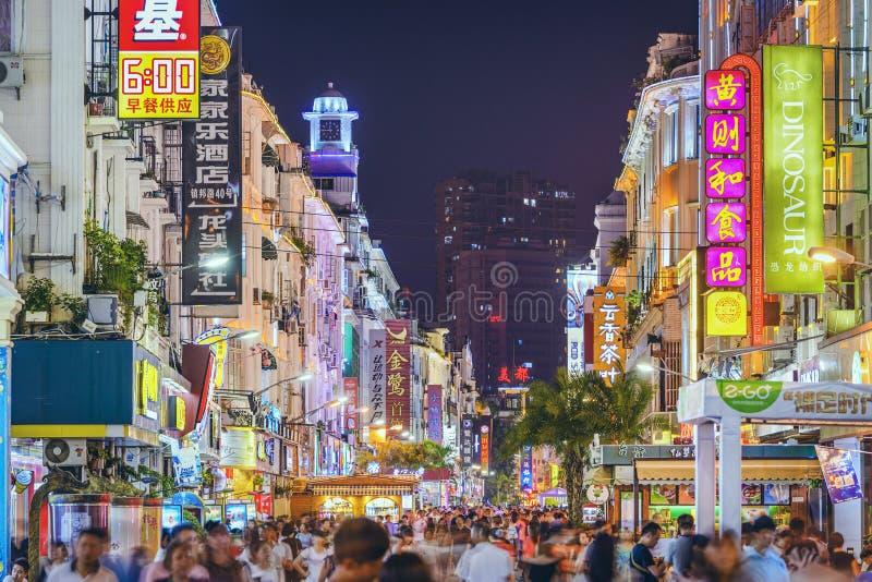 Xiamen, het Nachtleven van China stock afbeelding