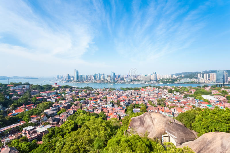 Xiamen panoramic scenery. Aerial view from gulangyu island royalty free stock photos