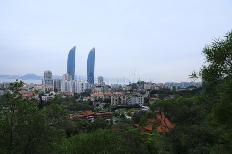 Xiamen panoramic scenery , aerial view from South Mount Putuo stock photos
