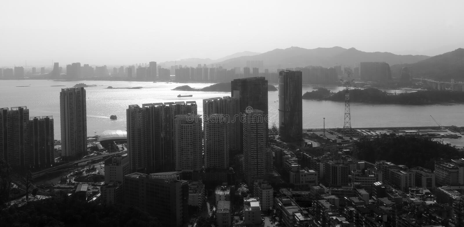 The xiamen port area, black and white image. Xiamen port has the advantages of wide port, deep water, no frost, low fog, low siltation, and good shelter stock photos