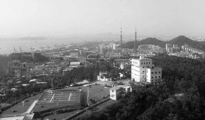 Xiamen port area, black and white image. Xiamen port has the advantages of wide port, deep water, no frost, low fog, low siltation, and good shelter conditions stock photo