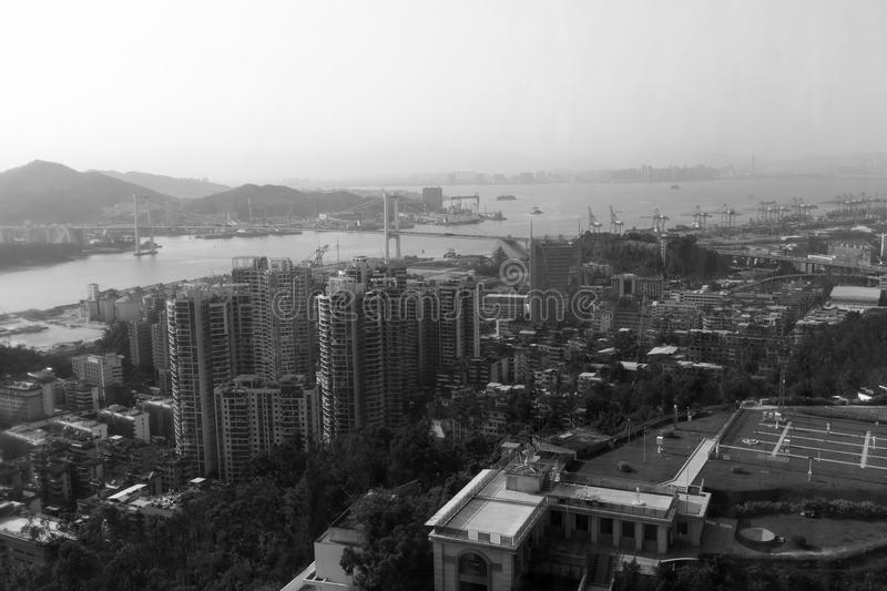 Xiamen port area and haicang bridge, black and white image. Xiamen port has the advantages of wide port, deep water, no frost, low fog, low siltation, and good royalty free stock images