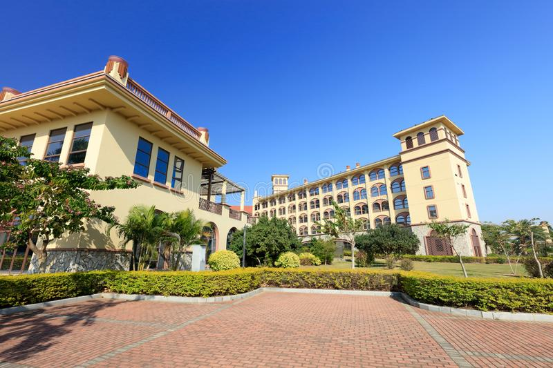 Xiamen Victoria Hotel, srgb image. Diyuan Victoria is a platinum five-star standard built with Spanish architectural style and subtropical garden landscape stock photos