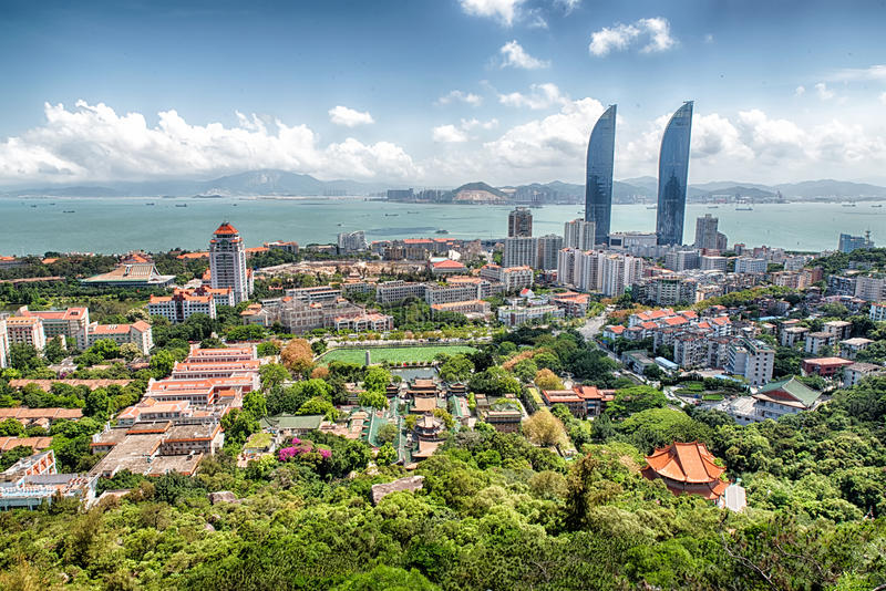 Xiamen. View of central Xiamen in China with skyskapers hdr stock image