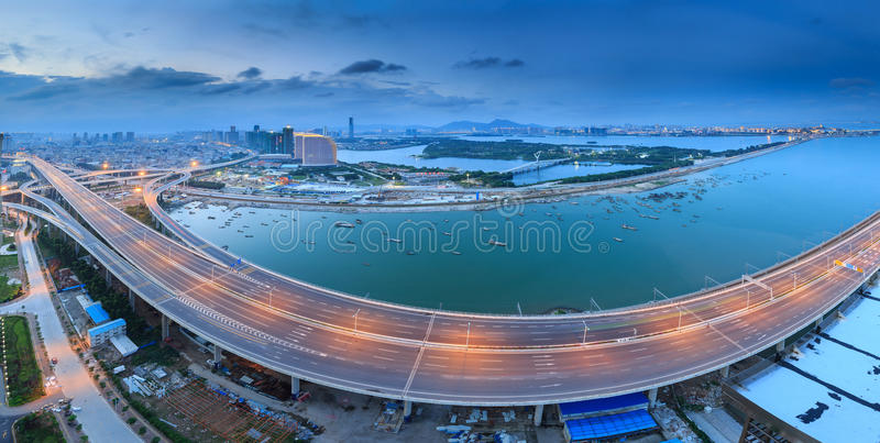 Xiamen Xinglin Bridge, China. Xiamen Xinglin Bridge Seascape, China royalty free stock photography