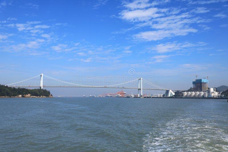 Xiamenstad en de haven stock foto