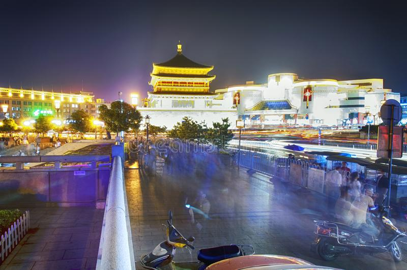 Xian Bell Tower Night View stock photo