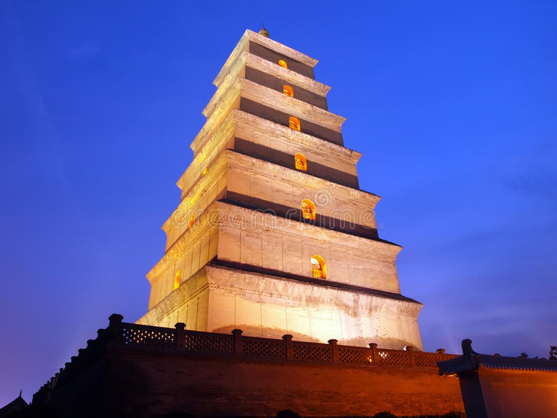 Xian Big Wild Goose Pagoda. Night view stock photos