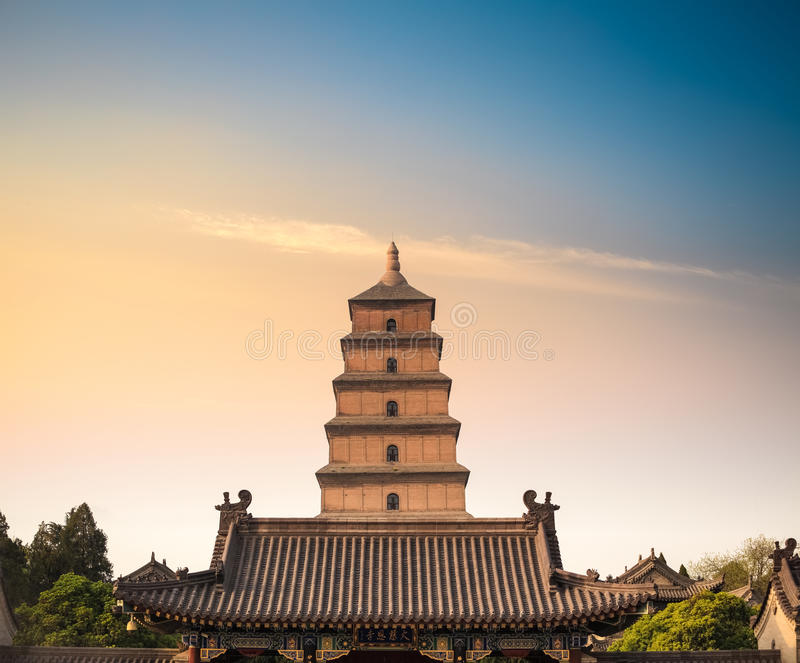 Xian big wild goose pagoda closeup. Xian ancient big wild goose pagoda at dusk , China stock image