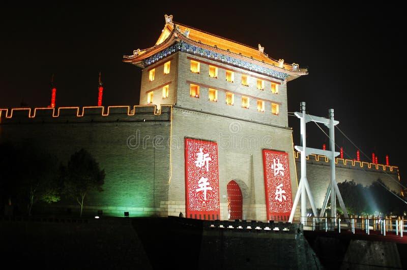 Xian,China. Night scenes of the south gate of Xi'an(Xian),China stock photography