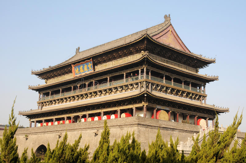 Xian China. Landmark of the famous historical Drum Tower in the downtown area of Xian,China stock images
