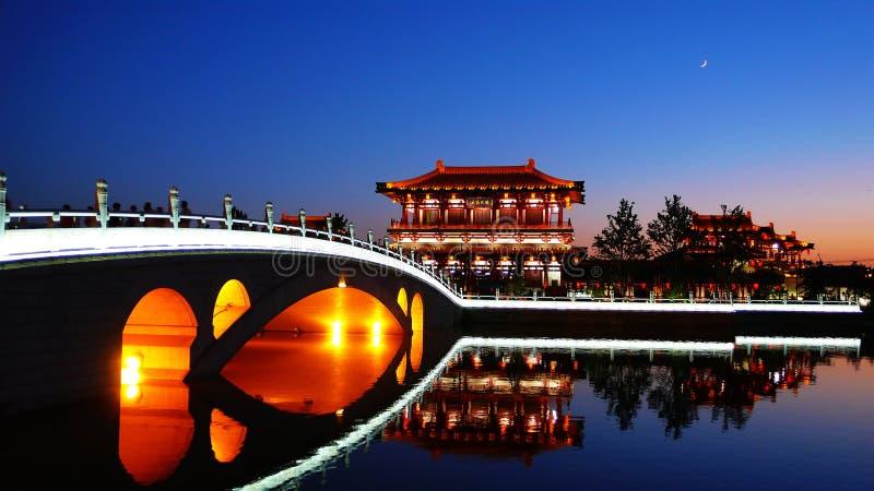 Xian,China. Night scenes of Tang Paradise in Xi'an(Xian),China stock photography