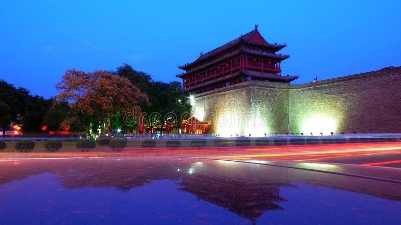 Xian,China. Night scenes of the South Gate,the citywall of ancient Xian city,China royalty free stock image
