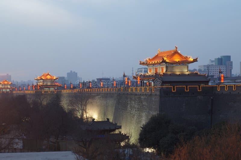 Xian China ancient city wall at night royalty free stock image