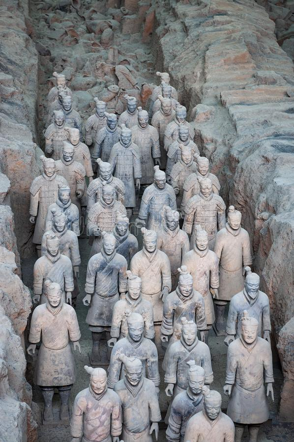Detail of a rank of Terracota Warriors near the city of Xian in China. Xian, China - August 6, 2012: Detail of a rank of Terracota Warriors near the city of Xian royalty free stock photography