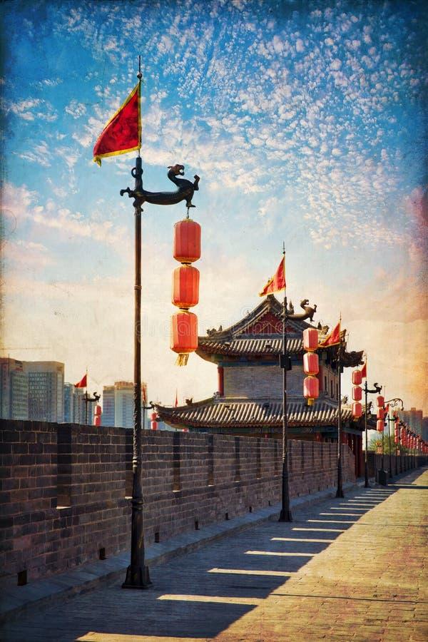 Xian, China. Beautiful view of ancient city wall of Xian, China stock image