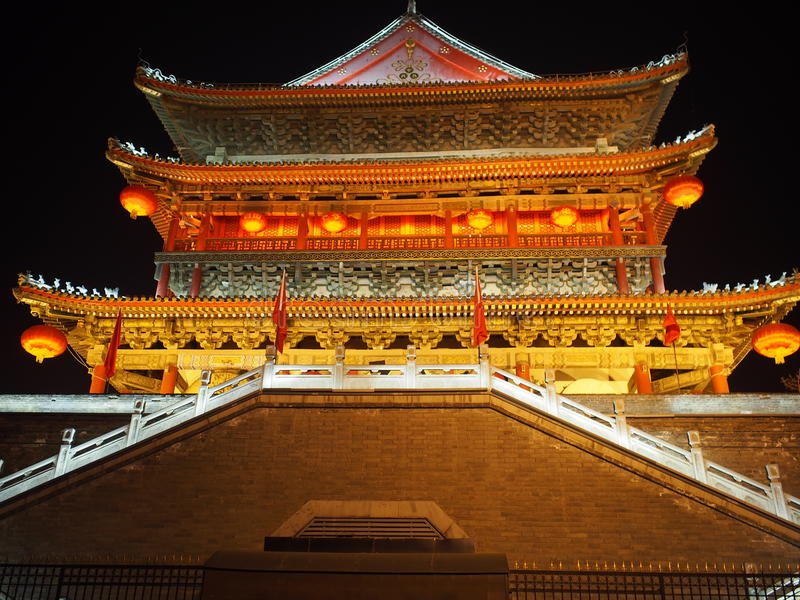 Xian, China de klokketoren royalty-vrije stock fotografie