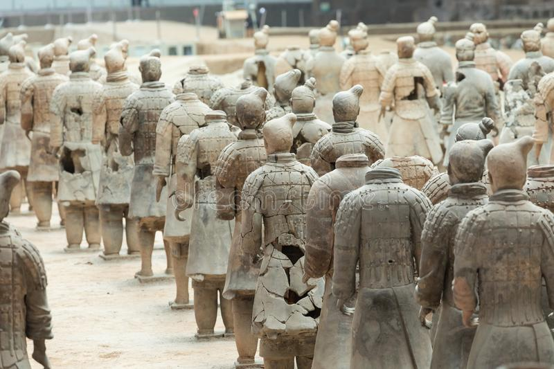 XIAN, CHINA - 24 DE MAIO DE 2018: Os guerreiros do exército da terracota no foto de stock
