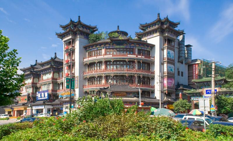 Traditional chinese architecture. Cityscape with buildings. Colorful building in the city of Xian. China stock photos