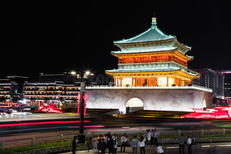 XIAN, CHINA - MAY 23, 2018: Famous Bell Tower in the Xi`an city, stock photos