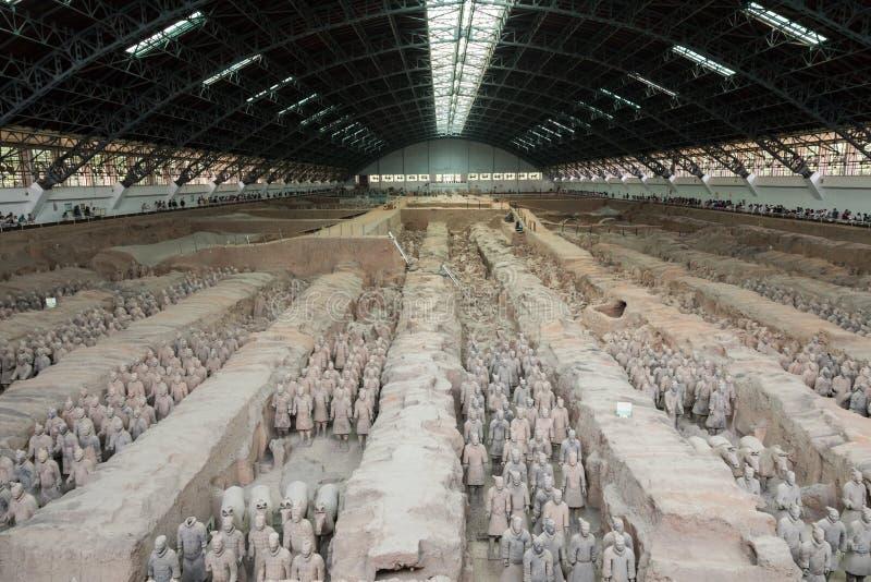 XIAN, CHINA - MEI 24, 2018: De strijders van het Terracottaleger bij royalty-vrije stock afbeelding