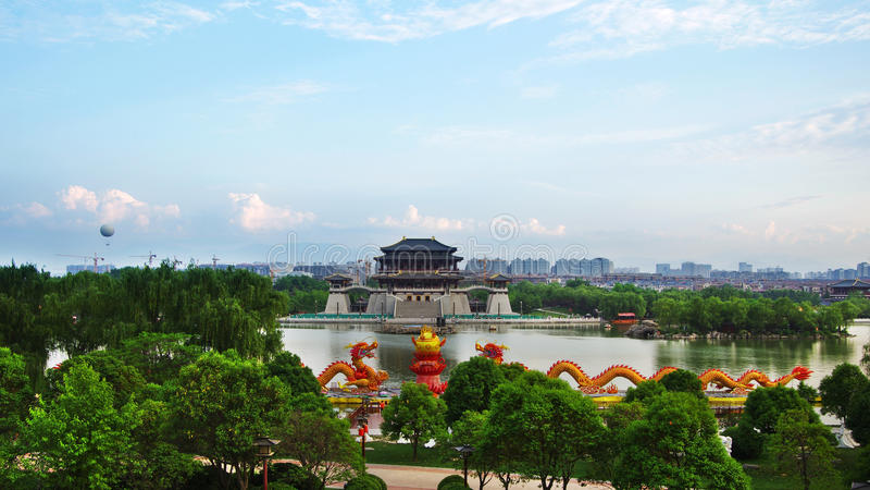 Xian,China. Night scenes of Tang Paradise in Xi'an(Xian),China stock photo
