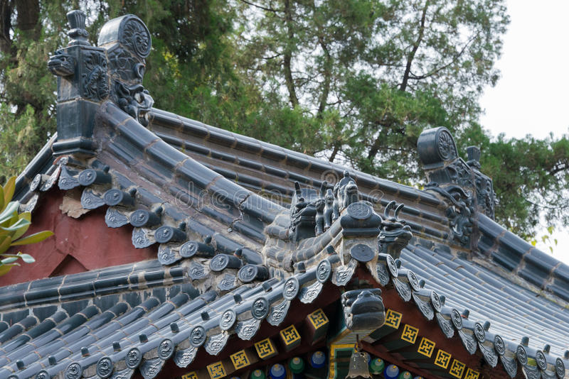 XIAN, CHINA - NOV 2 2014: Roof at Xingjiao Temple(UNESCO World h royalty free stock photos