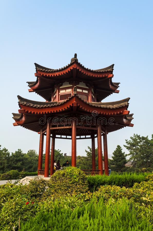 Buddhist pagoda on the territory of the Giant Wild Goose Pagoda, located in southern Xian Sian, Xi`an, Shaanxi province, China stock photos